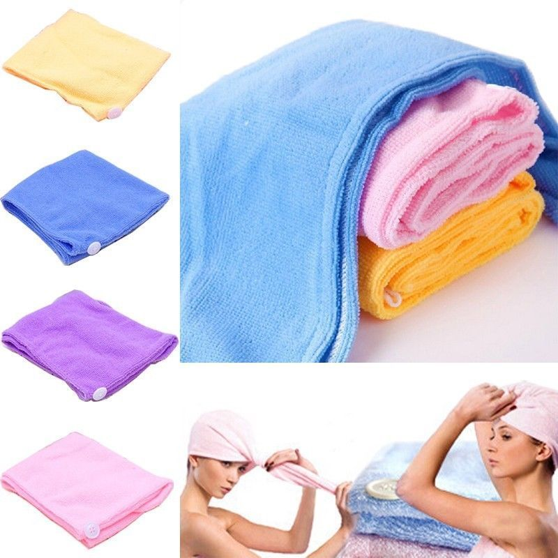 Women Absorbent Microfiber Towel Turban Hair-Drying Shower Caps Bathrobe Hat multi colors Hair Wraps for Women