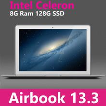 "13.3"" Blade Ultrabook cpu Intel 1037U Silver Metal housing 8GB RAM 128GB SSD Windows 7 / 8 Notebook PC Russian Spanish Keyboard(China (Mainland))"