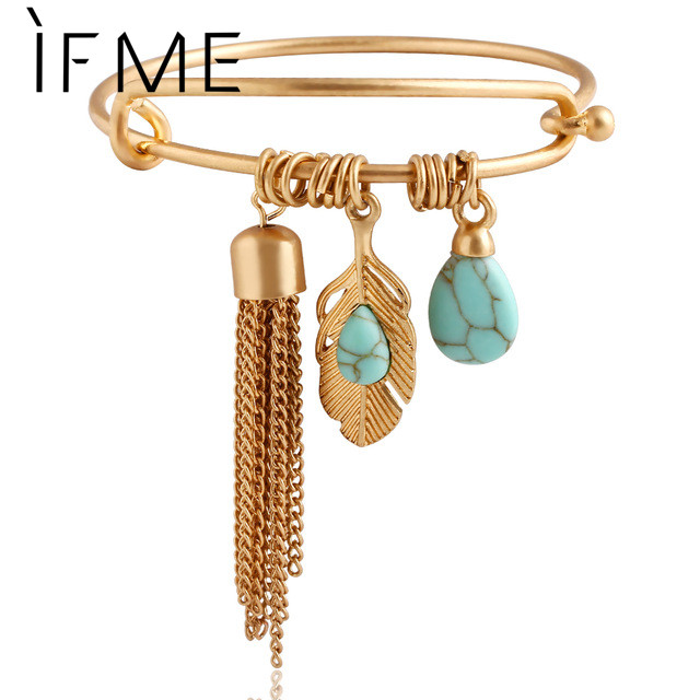 Punk Vintage Turquoise Tassel Bangle pulseras Alloy Gold Color Classic Leaf Feather Bangles Jewelry pulseira feminina PD26(China (Mainland))