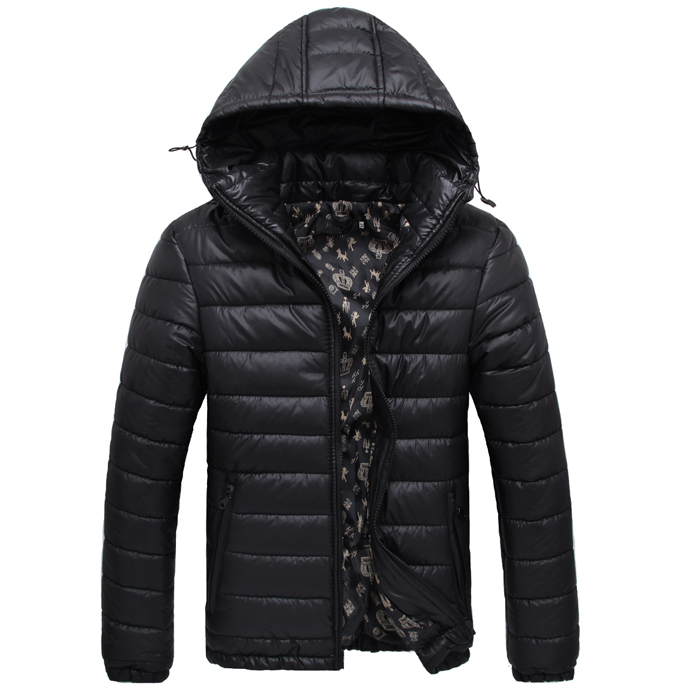 Men cotton jacket autumn and winter teenage jacket thickening with a hood short design black red navy blue color jacket