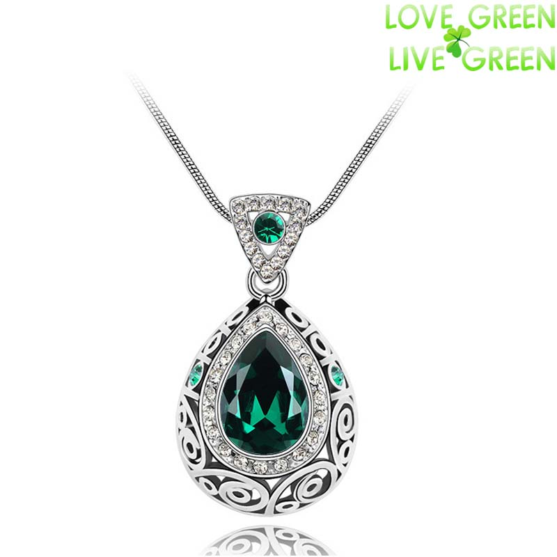 new wedding bridal18K Gold Plated Angel Ocean Tear Design 8 colors emerald green crystal Pendant fashion