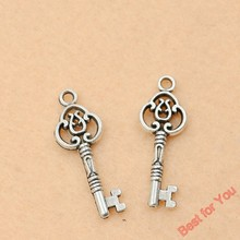 Buy 10pcs Vintage Key Charms Pendants Jewelry Making Tibetan Silver Plated Diy Craft Charms Handmade 28x10mm for $1.08 in AliExpress store
