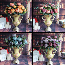 Artificial Fake Peony Silk Floral 12 Heads Flowers Bridal Flower Arrangement Home Wedding Table Party Decor Flores Artificiales(China (Mainland))