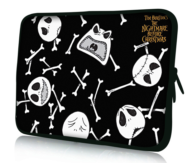 """10"""" 10.1"""" 10.2"""" Skull Laptop Netbook Notebook Tablet PC Soft Neoprene Sleeve Bag Case Cover Pouch For HP Dell Acer Sony(China (Mainland))"""