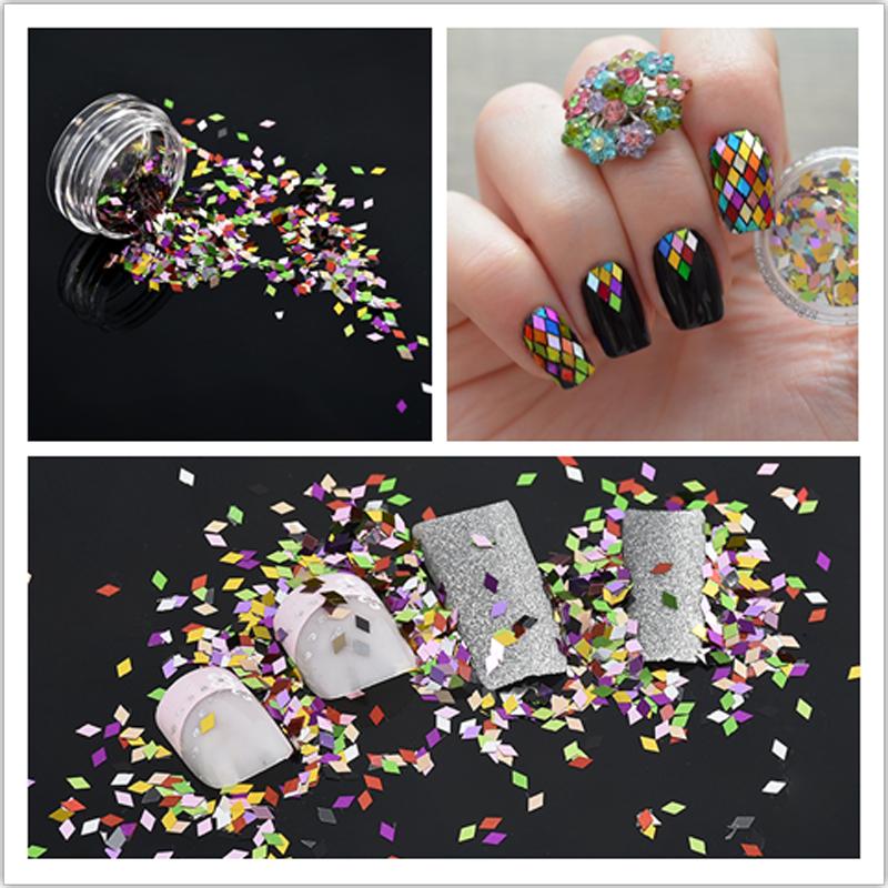 1Box Nail Art Glitter Powder Mixed Rhombus Sparkling Diamond Sequins Nail Art Tools Colorful Art Decorations