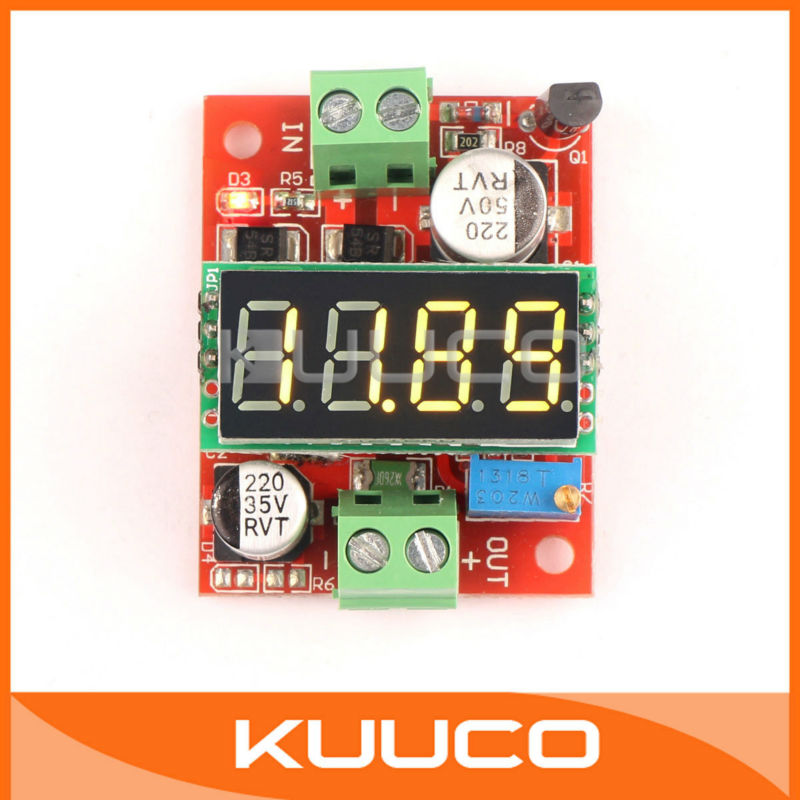 DIY Charge Phone/PDA/MP3/MP4 Power Adapter DC 3.2-40V to 1.23-37V 3A Buck Converter with Yellow LED Digital Voltmeter #300047<br><br>Aliexpress