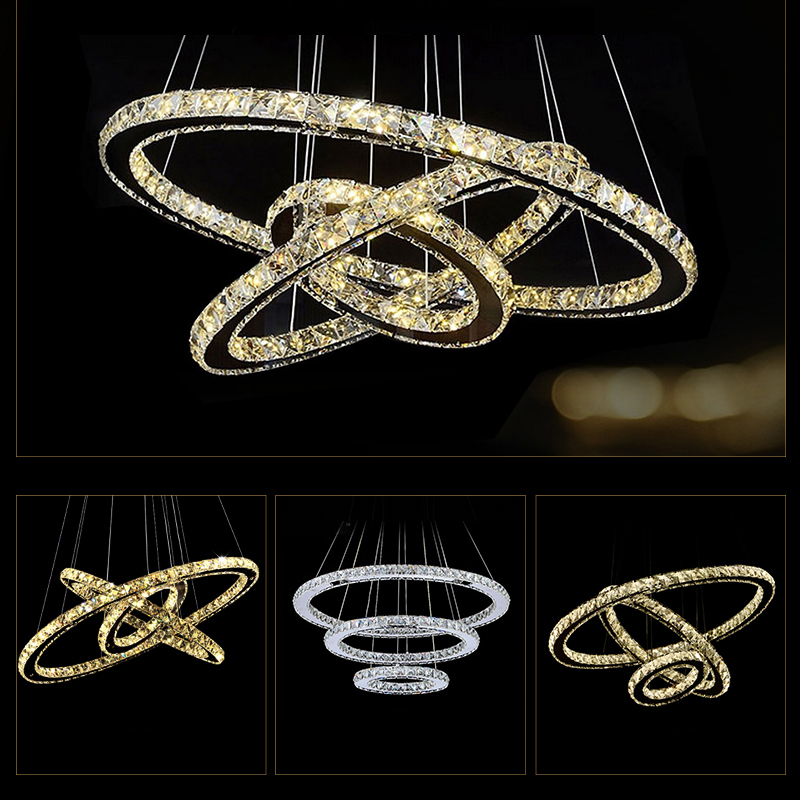 Buy modern chandelier led crystal ring for Lumiere suspension