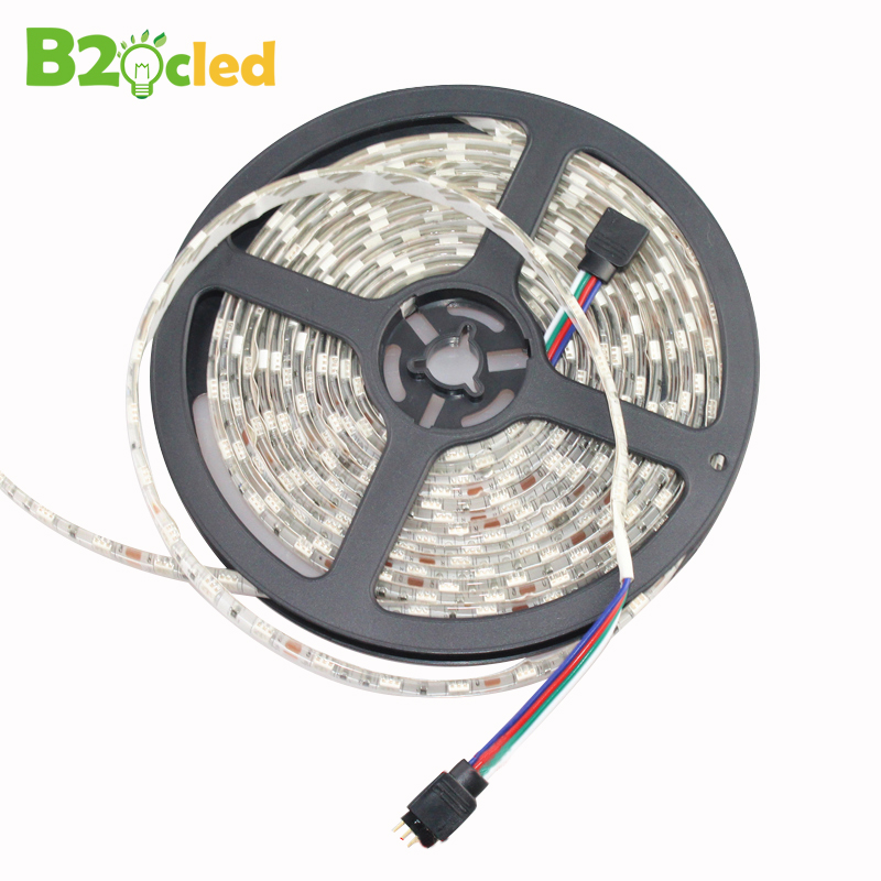 RGB LED strip light 12V waterproof IP65 5M 5050 300LEDS tricrystal ultra bright LED bar light tape flexible lamp CE ROHS CCC