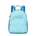 2016 New Trendy Panelled Sweet And Fresh Style Backpack Heart shaped Rivets Sequins Bag Women Multi