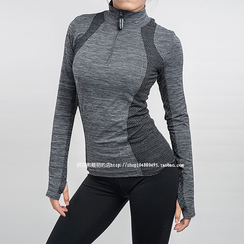 Women tight-fitting sports fitness running long-sleeve women's gym T-shirts  zipper stand collar workout clothes