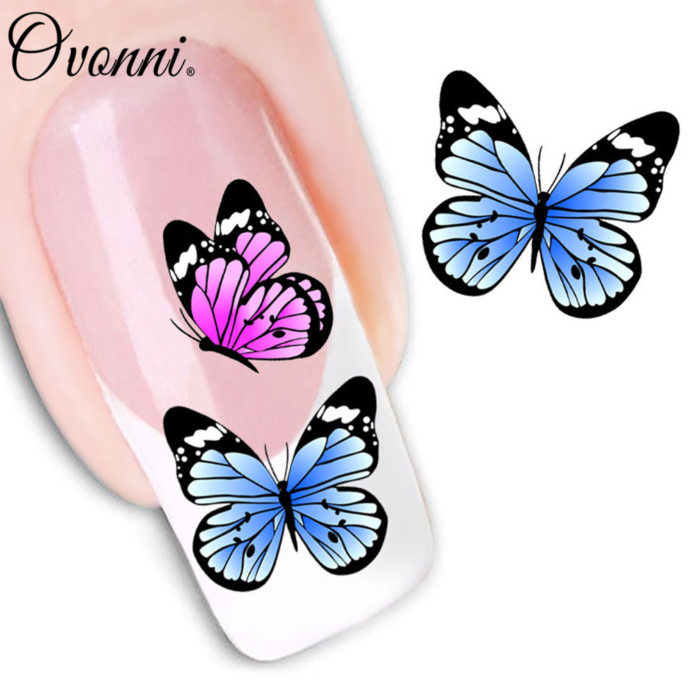 Fashion Cute Watermark Butterflies 3D Design Tip Nail Art Nail Sticker Manicure Decor Nails For Women(China (Mainland))