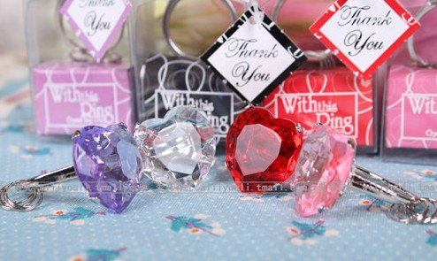 Free Shipping With this Ring Diamond Keychain White Key Chain Wedding Favors and gifts 100 pcs/lot