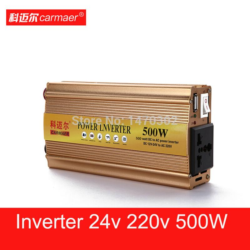 Pure sine wave inverter 24v 220v 500w dc-dc inversor car converter car styling home power USB frequency up 24 220 power in tv(China (Mainland))