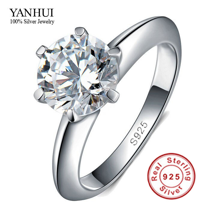 Big Promotion 100% Solid Silver Ring Set 1 Carat Sona CZ Diamond Engagement Ring Real 925 Sterling Silver Rings For Women JZR121(China (Mainland))