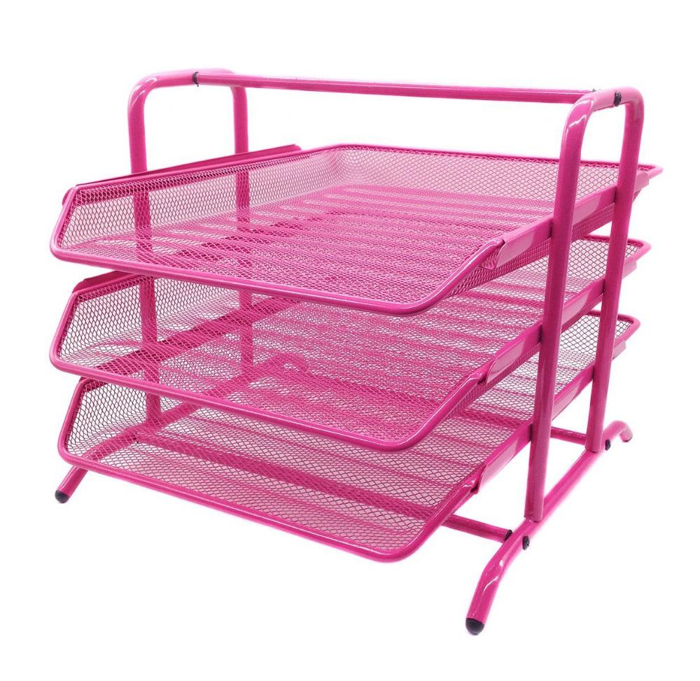 Mesh 3 tier letter tray desk organizer office supplies - Pink desk organizer ...