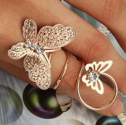 Hot fashion alloy rhinestone butterfly ring jewelry Yiwu jewelry wholesale FR2013253(China (Mainland))