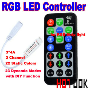 RF mini DIY RGB LED controller 12A 5~24V 3*4A with DIY function use for 5050 3528 LED Strip light With RF Remote Control Dimmer(China (Mainland))