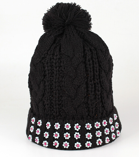 2015 spring winter wool handmade acrylic knitted flowers stud women fashion pom beanies hat black color - JW factory store