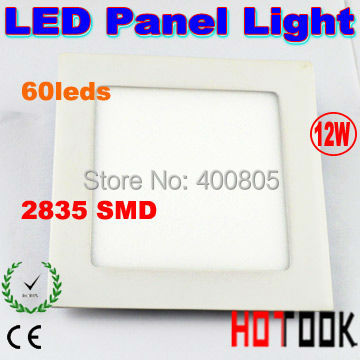 Flat ultra thin 12W Led Ceiling panel light + LED driver with 60pcs 2835 SMD Square lamp CE RoHS x 10pcs  - ship by express<br><br>Aliexpress