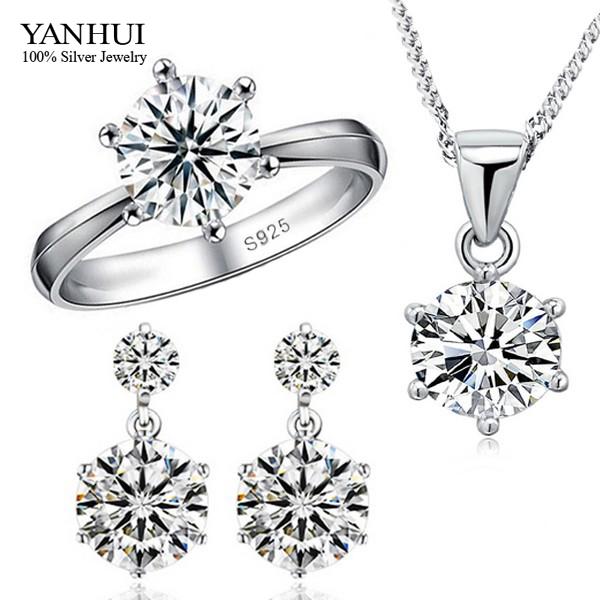 Big Promotion!!! Fashion 925 Sterling Silver Jewelry Sets Luxury CZ Diamond Necklace Earrings Ring Wedding Jewelry Sets JZR010(China (Mainland))