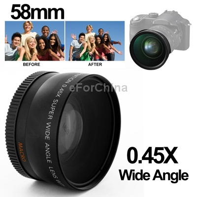 Camera Lenses 0.45X 58mm Wide Angle Lens Macro Canon 350D / 400D 450D 500D 1000D 550D /600D/ 1100D - Shenzhen eForChina Technology Limited Company store
