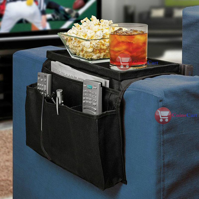 CoinsCart Big saving 6 Pockets Arm Rest Organizer Remote Control Holder Table Bag Sofa Couch Storage rising stars(China (Mainland))