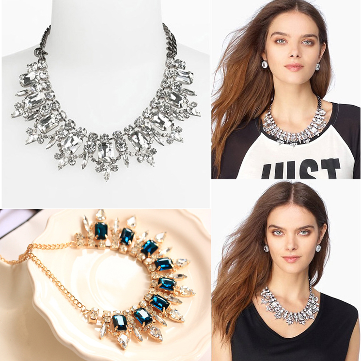 Fine Jewerly 2014 New Fashion jewelry Gem statement gold chunky Necklaces & Pendants wholesale choker necklaces for women A167(China (Mainland))