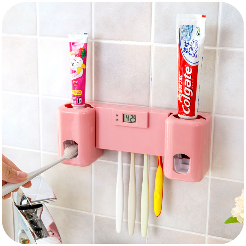 Bathroom accessories products clock automatic toothpaste for Cream bathroom accessories set