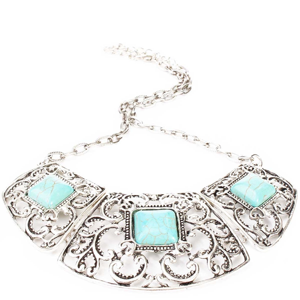 1pcs Vintage Tibetan Silver Chain Resin Flower Necklace Turquoise Cameo Bib Collar Chocker Jewelry For Women(China (Mainland))