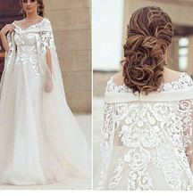 Elegant Custom made V Neck Long sleeve Evening dresses Lace Beaded White muslim evening dress Plus size Evening gown(China (Mainland))