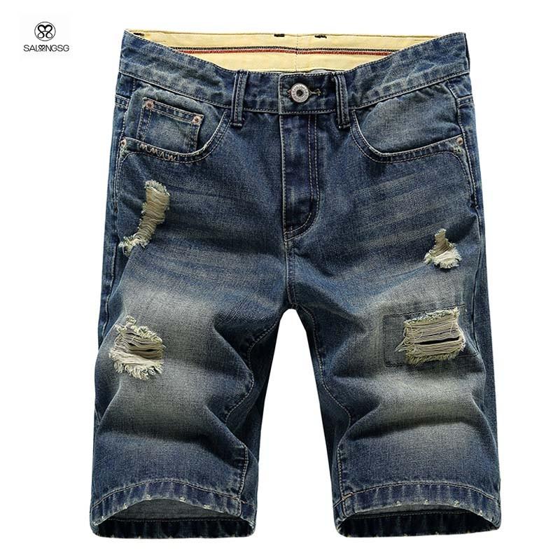 men denim shorts front