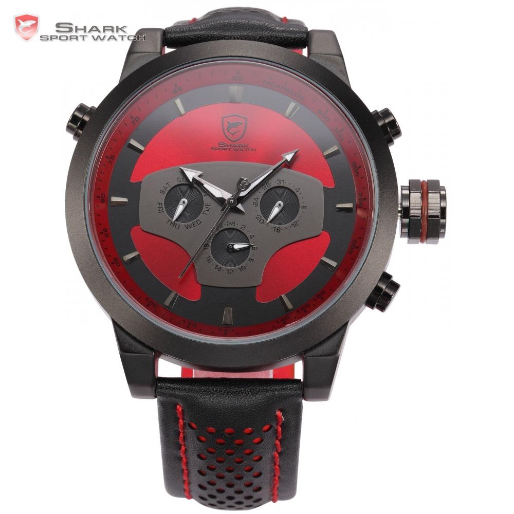 Requiem Shark Sport Watch 6 Hands Leather Strap Calendar 24 Hours Black Red 3D Dial Cycling Analog Mens Quartz Timepiece /SH207(China (Mainland))