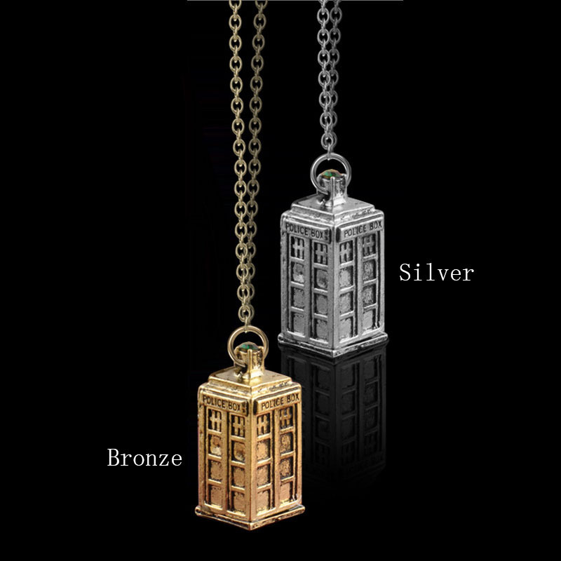 New Design Antique Silver / Gold Telephone Booth Police Box Retro Pendant & Necklace Men Women Necklace JN026(China (Mainland))