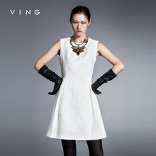 Ving 2015 Elegant New Women One Piece O-neck Sleeveless A-line Slim Dress vestidos de renda feminino(China (Mainland))