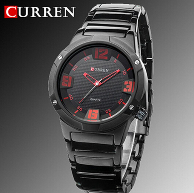 curren 8111 men 39 s round dial analog watch with tungsten steel strap leisure style fashion