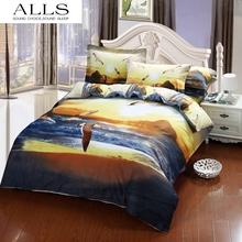 3d oil painting 100% cotton bedding set animal bed linen white eagle bedding sky duvet cover flat sheet pillow case satin(China (Mainland))