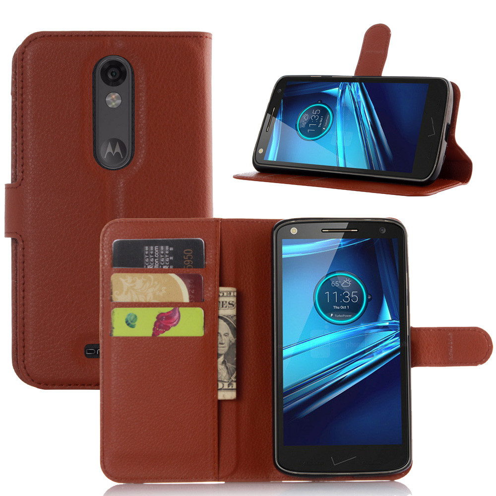 Lychee Print PU Leather Case For Motorola MOTO Droid Turbo 2 XT1585 Case Flip Stand Wallet Card Holder Phone Shell Back Cover(China (Mainland))