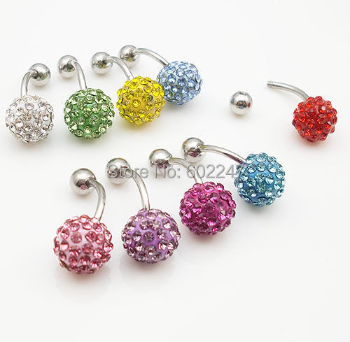 New Wholesales 6/10mm Shamballa Body Piercing Belly bar Piercing Can Be Earrings Stainless Steel With Crystal(China (Mainland))