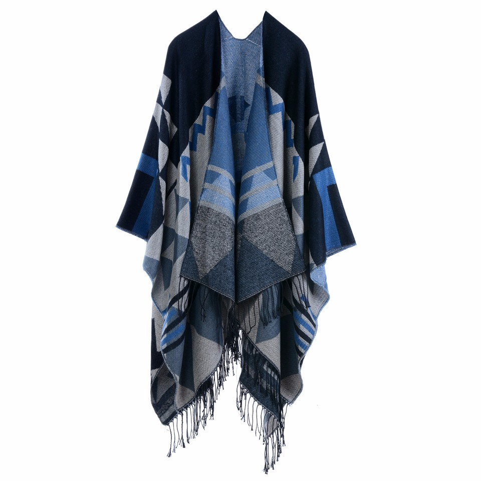 Bohemian Women's Autumn Winter Poncho Ethnic Scarf Fashion Print Blanket carves Lady Knit Shawl Tassel Cape Pashmina ponchos