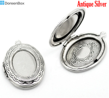 Doreen Box Lovely Antique Silver Oval Photo Frame Locket Pendants 34x24mm, sold per packet of 5 (B15912)(China (Mainland))