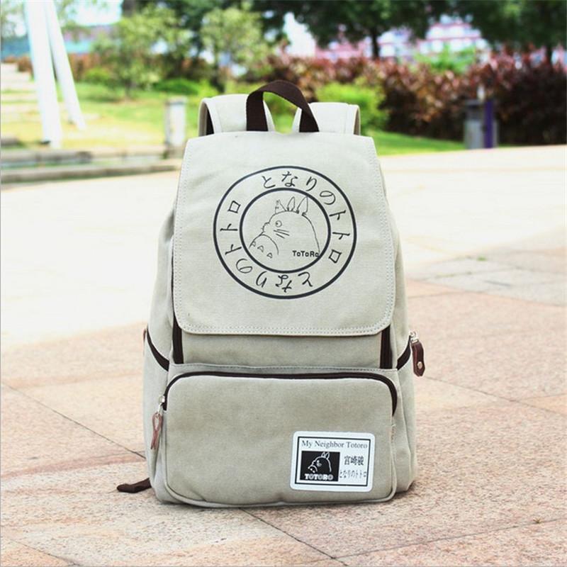 Hot Cartoon Canvas Backpack Anime Totoro Large Capacity Travel Backpack Students Computer Shoulders Bag Rucksack Mochila(China (Mainland))