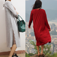 Gray Black  Red Free Shipping Cardigan Women Sweater casual Crochet Poncho Plus Size Coat Women long Sweaters vestidos Cardigans(China (Mainland))