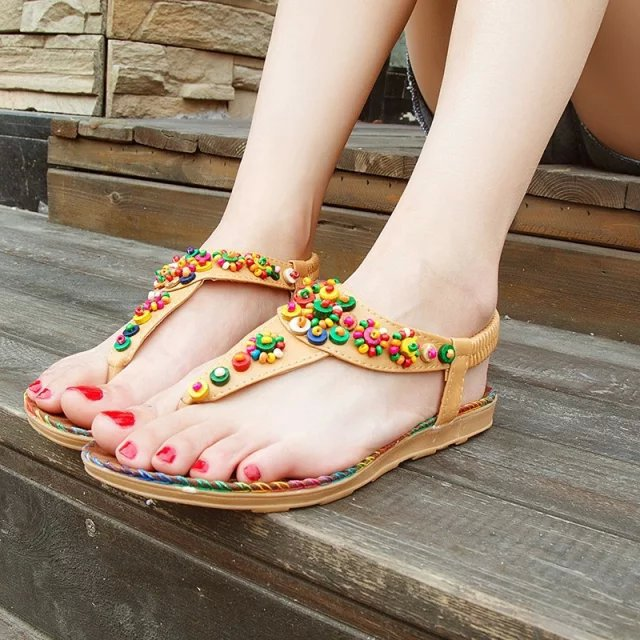 Free shipping 2015 Flat Sandals Ankle T-strap Fashion Trend Sandals Bohemia National Flat Heel Beaded Female shoes Hot sale<br><br>Aliexpress