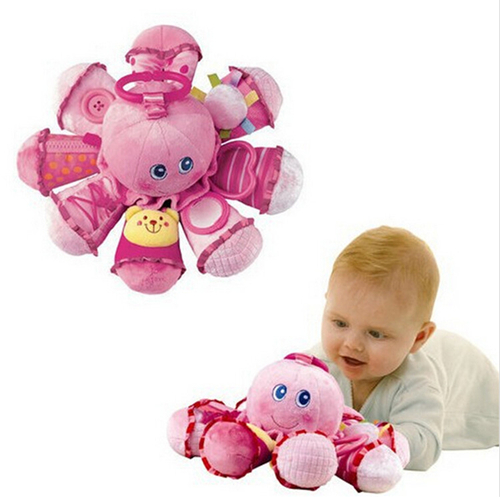 2015 Brinquedos New Baby Toys Early Learning Plush Octopus animal rings for Baby music Rattles & Mobiles 0-12 months(China (Mainland))