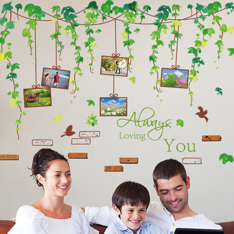 Picture Frame Wall Sticker Green Leaves Creative Mural Decals Plant Wall Art for Sofa Background Living Room Home accessories(China (Mainland))