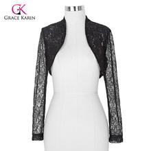 2016 Womens Elegant Long Sleeve Cropped Black White Lace Bolero mariage Shrug Wedding accessories Jackets Bridal Wraps BP49(Hong Kong)