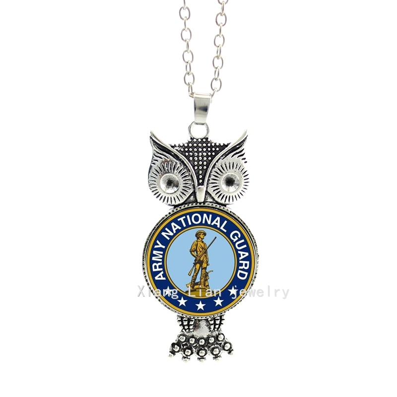 Army national guard art military necklace glass cabochon animal pendant owl picture fashion jewelry for women at party MI010(China (Mainland))