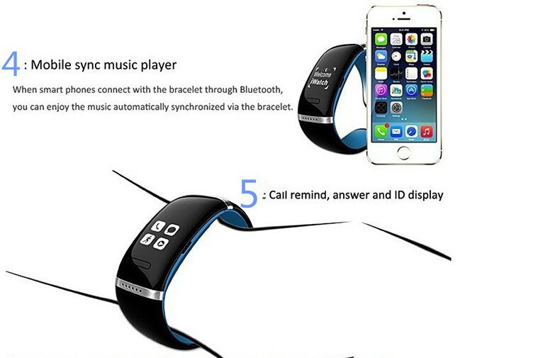 ถูก 2015ใหม่มาถึงกีฬานาฬิกาสมาร์ทสร้อยข้อมือสายรัดข้อมือL12S OLEDแสดงสมาร์ทนาฬิกาบลูทูธ3.2.0สำหรับโทรศัพท์A NDROID IOSโทรศัพท์