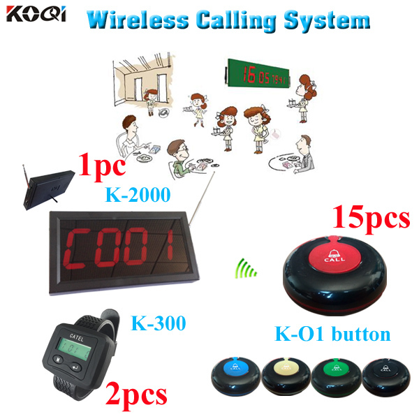 2 watch 15 button 1 panel Wireless Service waiter Paging System restaurant fast food guest Waterproof Restaurant Paging System(China (Mainland))