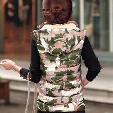 2015 New Autumn And Winter Camouflage Women Winter Vest Short Slim Down Padded Gilet Femme Hooded